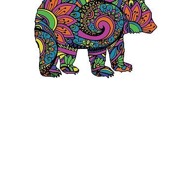 Mandala Bear Jewel Color Pattern by No-Leg-Bones