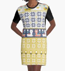Alpaca Christmas Sweater Pattern  Graphic T-Shirt Dress