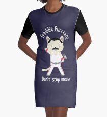 Don't Stop Meow!  Cute Freddie Cat Graphic T-Shirt Dress