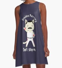 Don't Stop Meow!  Cute Freddie Cat A-Line Dress