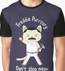 Don't Stop Meow!  Cute Freddie Cat Graphic T-Shirt