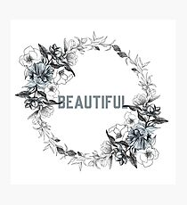 Beautiful - Flower Wreath Photographic Print