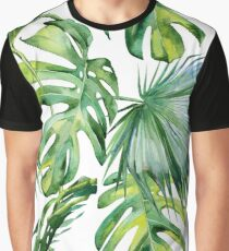 Seamless watercolor illustration of tropical leaves, dense jungle.  Graphic T-Shirt