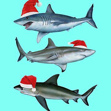 Santa Sharks Sharkmas Christmas Shark by banwa
