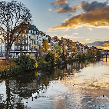Beautiful colorful sunset in autumnal Strasbourg, cityscape, France by sorokopud