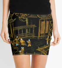 Schwarze und goldene orientalische Seidenpagoden Minirock