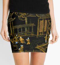 black and gold oriental silk pagodas  Mini Skirt