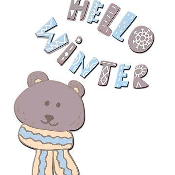 Hello winter funny christmas cartoon teddy bear  by ACoetzer
