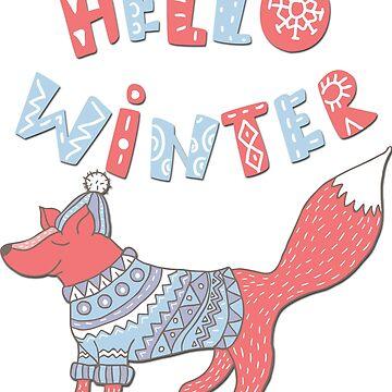 Hello winter funny christmas cartoon fox by ACoetzer