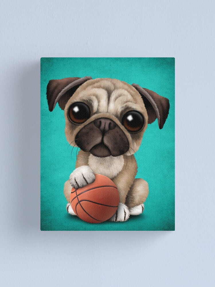 Alternate view of Cute Pug Puppy Dog Playing With Basketball Canvas Print