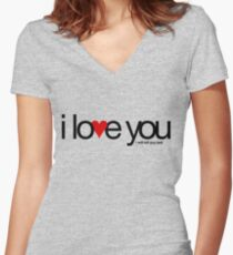 I love you… i will kill you last Women's Fitted V-Neck T-Shirt