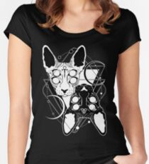 Sphynx cats with ankh and Leviathan cross symbols Women's Fitted Scoop T-Shirt