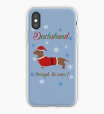 Dachschund through the snow - santa iPhone Case