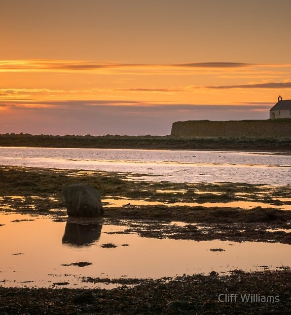 """Sunset at """"The Church in the Sea"""" St Cwyfans, Anglesey North Wales by Cliff Williams"""