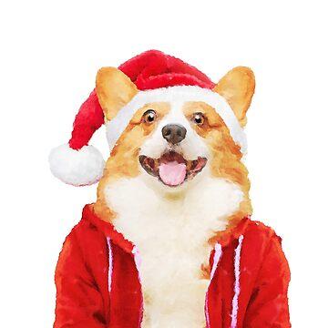 Corgi Santa Claus by DarkMaskedCats