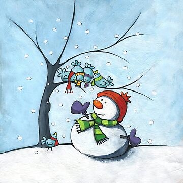 Snowman and birds. by laureH