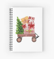 Red Christmas Wagon with Tree and Presents Spiral Notebook