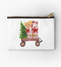 Red Christmas Wagon with Tree and Presents Studio Pouch