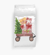Red Christmas Wagon with Tree and Presents Duvet Cover