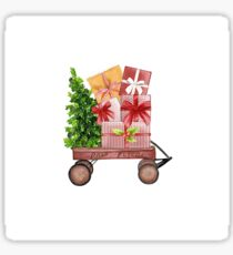 Red Christmas Wagon with Tree and Presents Sticker