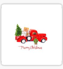 Vintage Red Truck with Christmas Tree and Presents Sticker