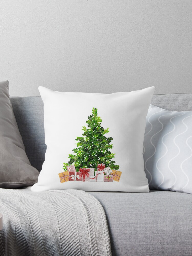 Pine Christmas Tree with Presents by Ann Drake