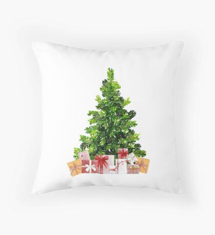 Pine Christmas Tree with Presents Throw Pillow
