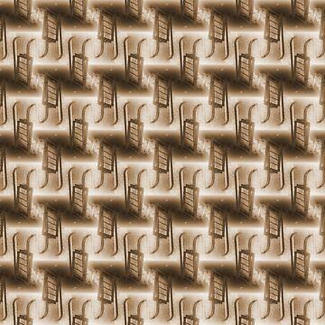 Battery Mishler ladder going nowhere, sepia pattern by DlmtleArt
