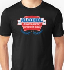 Funny Alcohol Salad T-Shirt Comedy Tees Humor Vintage Unisex T-Shirt