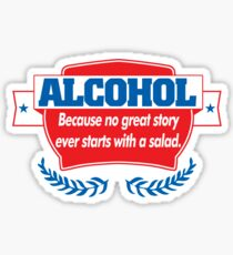 Funny Alcohol Salad T-Shirt Comedy Tees Humor Vintage Sticker
