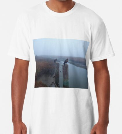 A Pair of Falconer's Harris's Hawks Hunting During a Falconry Hunt in the Wetlands of California  Long T-Shirt