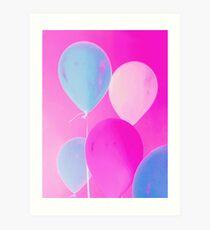 Gift for Teens - Balloony - Neon Pink Blue Balloons Art  Art Print