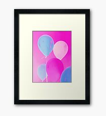 Gift for Teens - Balloony - Neon Pink Blue Balloons Art  Framed Print