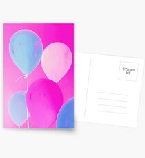 Gift for Teens - Balloony - Neon Pink Blue Balloons Art  Postcards