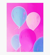 Gift for Teens - Balloony - Neon Pink Blue Balloons Art  Photographic Print
