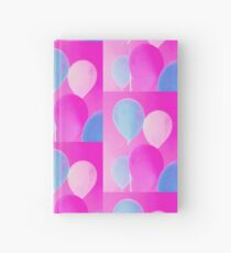 Gift for Teens - Balloony - Neon Pink Blue Balloons Art  Hardcover Journal