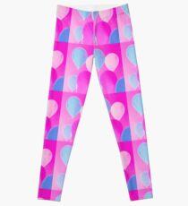 Gift for Teens - Balloony - Neon Pink Blue Balloons Art  Leggings