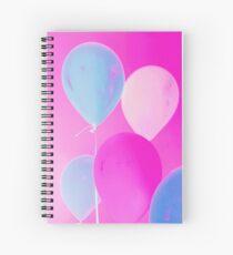 Gift for Teens - Balloony - Neon Pink Blue Balloons Art  Spiral Notebook