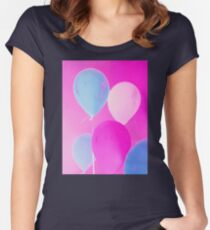 Gift for Teens - Balloony - Neon Pink Blue Balloons Art  Women's Fitted Scoop T-Shirt