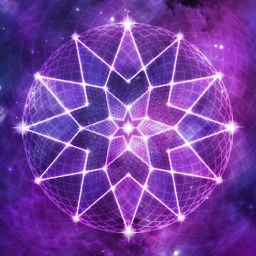 Cosmic Geometric Seed of Life Crystal Lotus Star Mandala in Purple by jitterfly