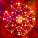 Cosmic Geometric Seed of Life Crystal Lotus Star Mandala RED by jitterfly
