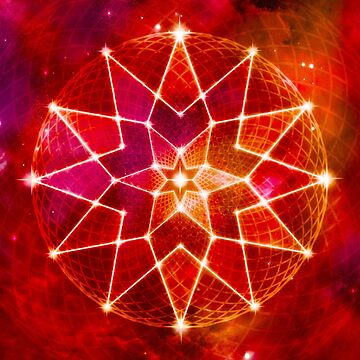 Cosmic Geometric Seed of Life Crystal Lotus Star Mandala RED by jitterfly