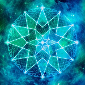 Cosmic Geometric Seed of Life Crystal Lotus Star Mandala (Turquoise, Emerald) by jitterfly