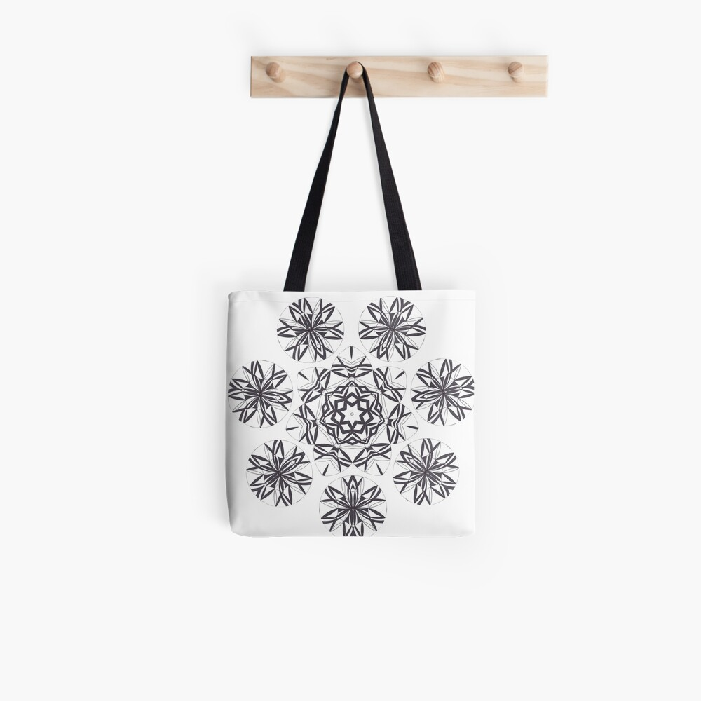 Lite on Dark Monochrome Blast Fall Into Winter Design by Green Bee Mee Tote Bag