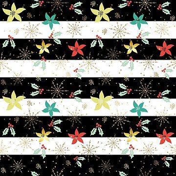 Christmas holly & poinsettia pattern by artonwear