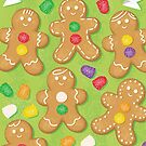 Happy Holidays Gingerbread Men Decorating Illustration by DottieBowles