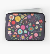 Bright Colored Flowers Floral Design Pattern Background Laptop Sleeve