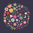 Heller farbiger Blumen-Blumenmuster-Muster-Hintergrund von kennasato