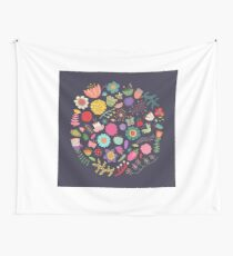 Bright Colored Flowers Floral Design Pattern Background Wall Tapestry