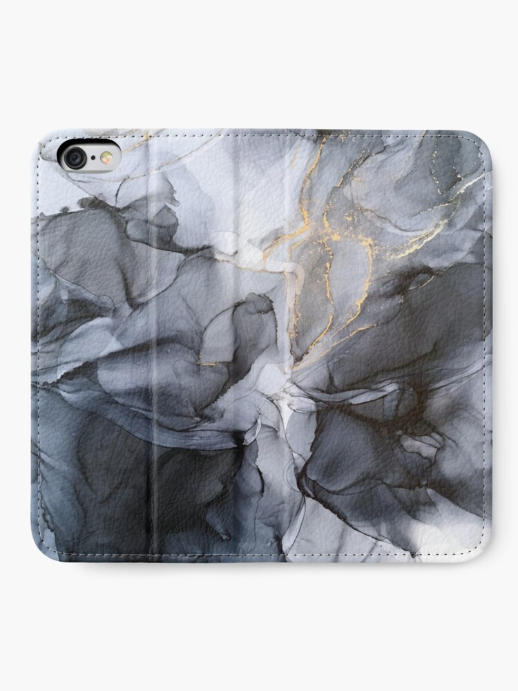 Alternate view of Calm but Dramatic Light Monochromatic Black & Grey Abstract iPhone Wallet